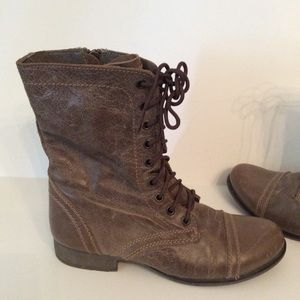 Steve Madden Troopa Boots Brown leather Lace Up 8